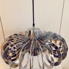 Vintage: LAMPARA DE TECHO CROMADO 1970. Lote 206944091