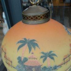 Vintage: LAMPARA TECHO PINTADA FLECOS, PEDRERIA. Lote 208080435