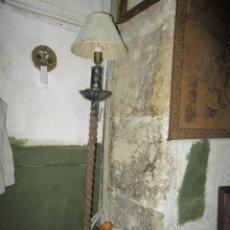 Vintage: LAMPARA ANTIGUA HIERRO FORJADO DE PIE Y PANTALLA FALTA LIMPIEZA 150.- CMS IDEAL PARA CASA O TIENDA. Lote 208489000