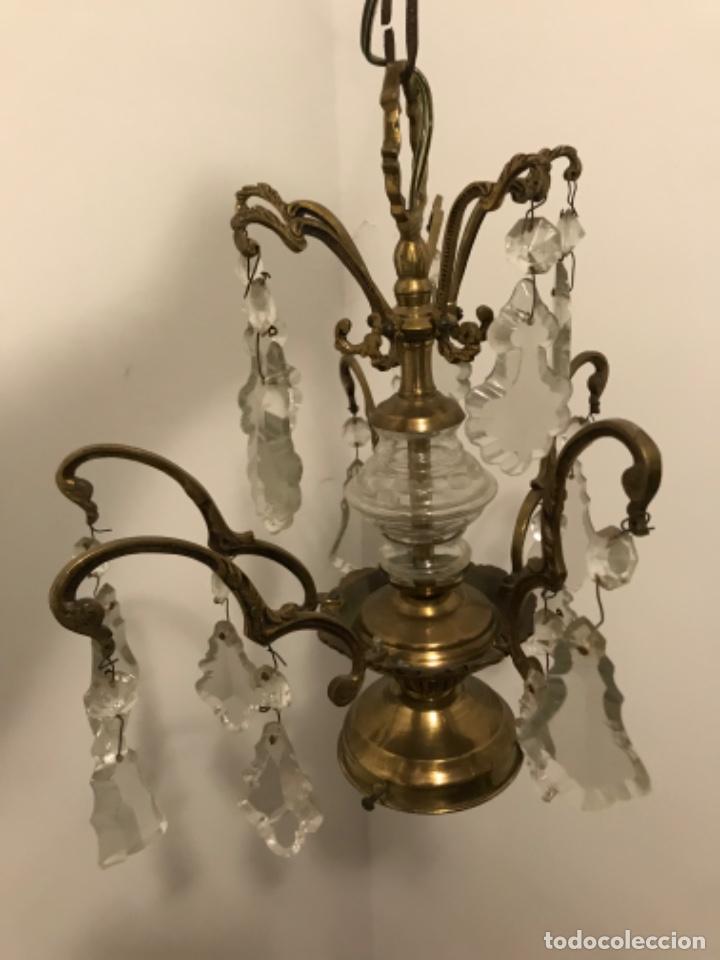 Vintage: Lámpara de 10 brazos con lágrimas y excepcional tulipa de vidrio. ART DECO. Bronce y cristal. - Foto 9 - 209802763