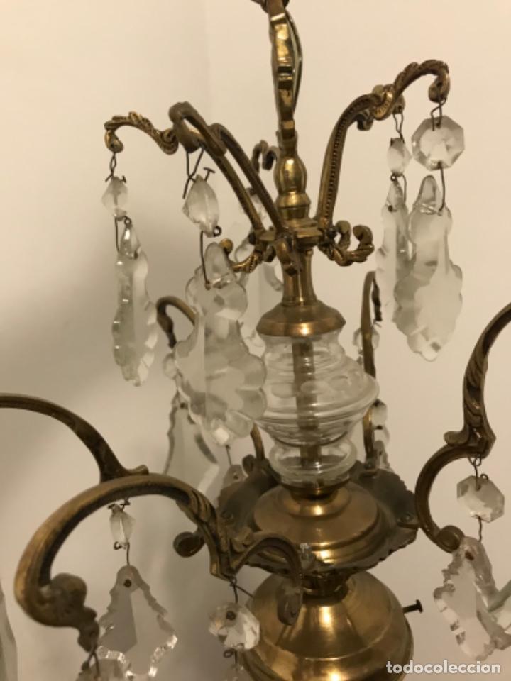 Vintage: Lámpara de 10 brazos con lágrimas y excepcional tulipa de vidrio. ART DECO. Bronce y cristal. - Foto 12 - 209802763