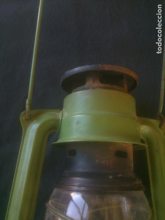Vintage: Lámpara-farol vintage de parafina, marca Meva modelo 863, color VERDE. - Foto 3 - 209885348