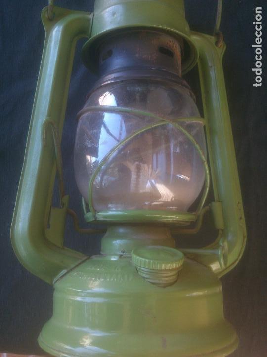 Vintage: Lámpara-farol vintage de parafina, marca Meva modelo 863, color VERDE. - Foto 4 - 209885348