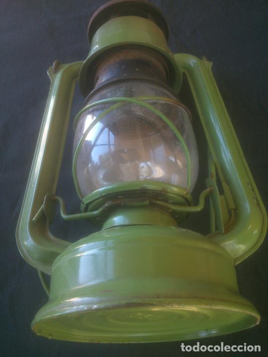 Vintage: Lámpara-farol vintage de parafina, marca Meva modelo 863, color VERDE. - Foto 7 - 209885348