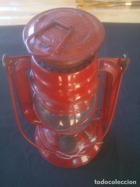 Vintage: Lámpara-farol vintage de parafina, marca Meva modelo 864, color ROJO. - Foto 7 - 209885680