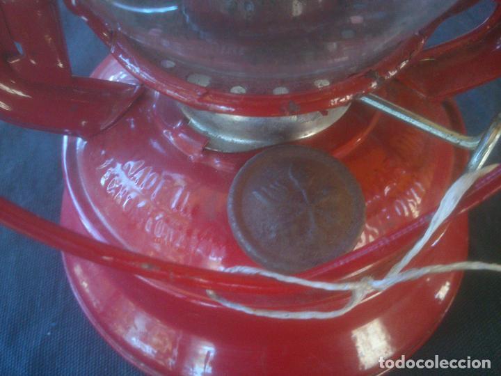 Vintage: Lámpara-farol vintage de parafina, marca Meva modelo 864, color ROJO. - Foto 8 - 209885680