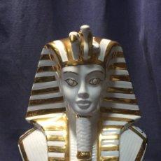 Vintage: PIE LAMPARA CERAMICA TUT TUTANKAMON BUSTO EGIPCIO FARAON MANISES VIDRIADO DORADO AÑOS 70 33X29X20C. Lote 211616654