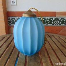 Vintage: LAMPARA DE TECHO CON TULIPA DE CRISTAL COLOR AZUL. Lote 211685248
