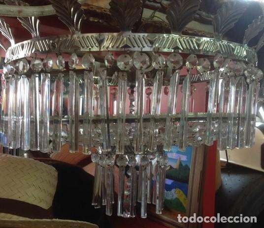 GRAN LAMPARA TECHO ART DECO.BALCONCILLO DE METAL LABRADO CON HOJAS TALLADAS Y LAGRIMAS DE CRISTAL. (Vintage - Lámparas, Apliques, Candelabros y Faroles)