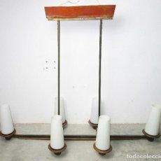 Vintage: SUPER LAMPARA VINTAGE MIDCENTURY NORDICA EN TEKA LATON Y OPALINA. Lote 213023940