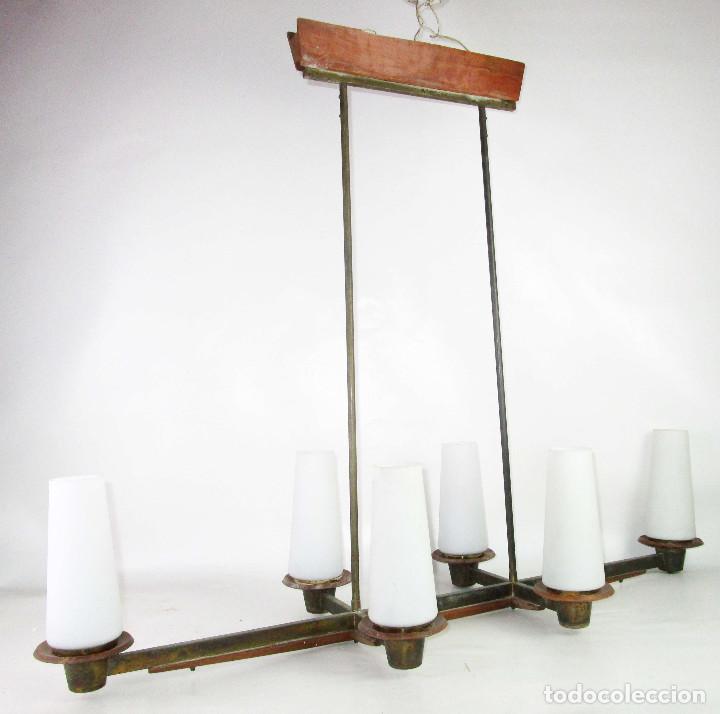 Vintage: SUPER LAMPARA VINTAGE MIDCENTURY NORDICA EN TEKA LATON Y OPALINA - Foto 2 - 213023940