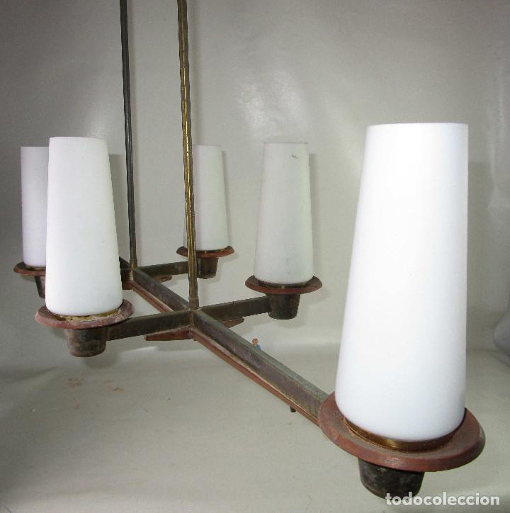 Vintage: SUPER LAMPARA VINTAGE MIDCENTURY NORDICA EN TEKA LATON Y OPALINA - Foto 4 - 213023940