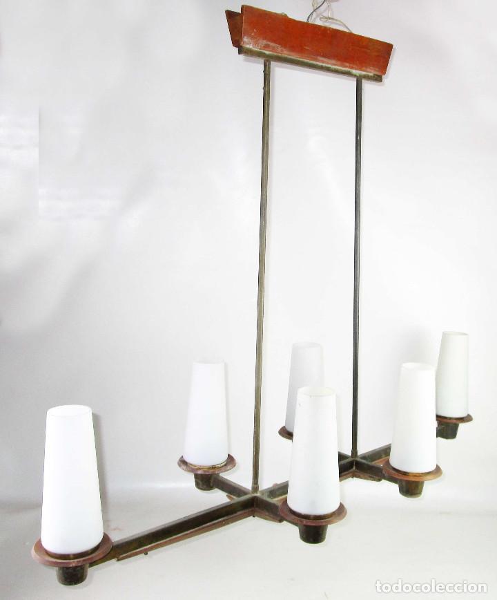 Vintage: SUPER LAMPARA VINTAGE MIDCENTURY NORDICA EN TEKA LATON Y OPALINA - Foto 5 - 213023940