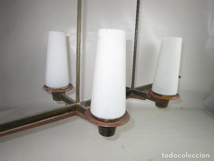 Vintage: SUPER LAMPARA VINTAGE MIDCENTURY NORDICA EN TEKA LATON Y OPALINA - Foto 7 - 213023940