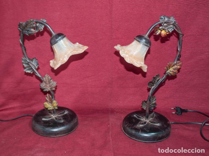 Vintage: BONITA PAREJA DE LAMPARAS DE SOBREMESA ESTILO MODERNISTA (no de la época) - Foto 4 - 213096701