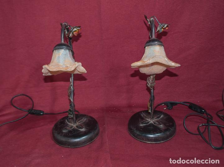 Vintage: BONITA PAREJA DE LAMPARAS DE SOBREMESA ESTILO MODERNISTA (no de la época) - Foto 5 - 213096701