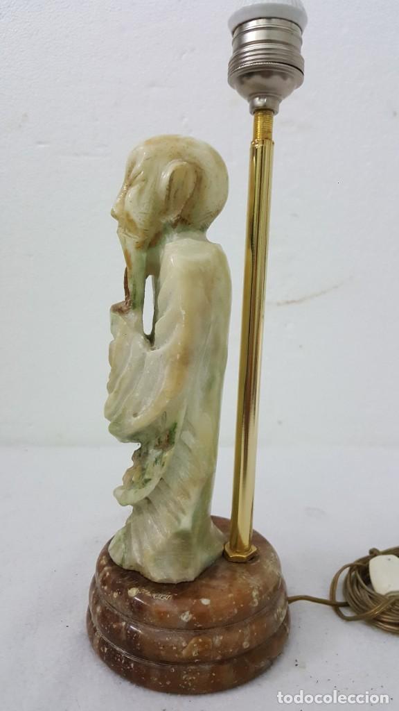 Vintage: LAMPARA MONJE TALLA EN MARMOL - Foto 3 - 213989298