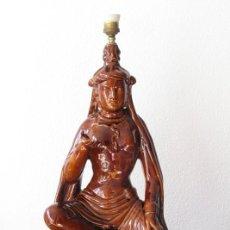 Vintage: ANTIGUA LAMPARA BONDIA MANISES GRAN TAMAÑO. DEIDAD ORIENTAL. INDIA JAPON. CHINA. SELLO. FUNCIONA. Lote 217130752
