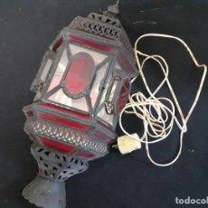 Vintage: FAROL O LAMPARA DE PARED MORUNA HIERRO CRISTAL. Lote 218696258