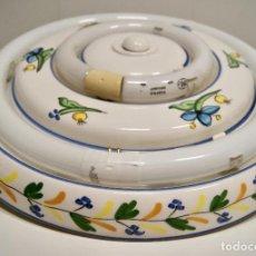 Vintage: PLAFÓN DE CERÁMICA CON FLUORESCENTES DE GRAN TAMAÑO. Lote 220065736