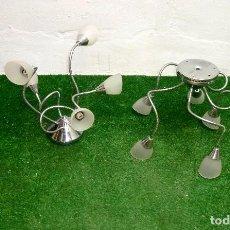Vintage: PAREJA DE LAMPARAS DE TECHO DE 5 BRAZOS FLEXIBLES.CROMADA.. Lote 220303675