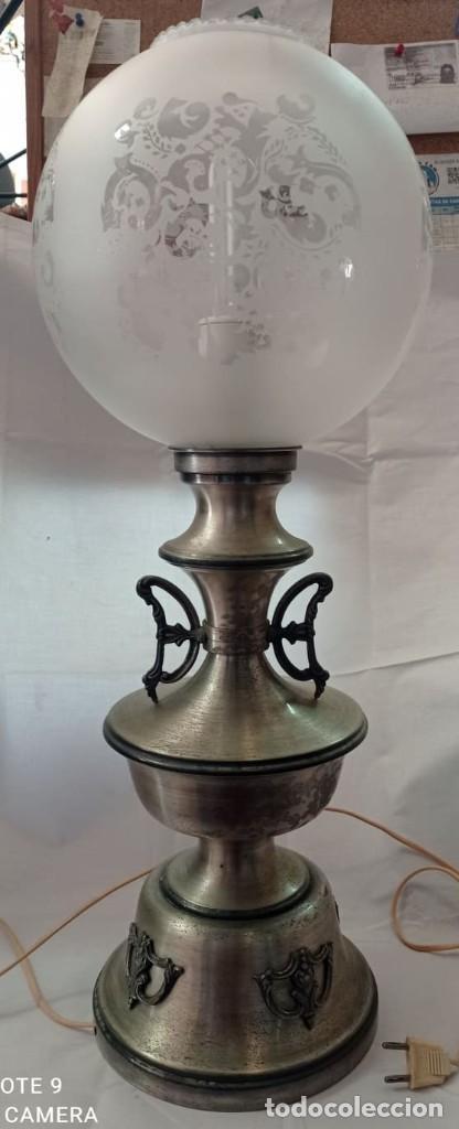 LAMPARA SOBREMESA LATON PLATEADO QUINQUE (Vintage - Lámparas, Apliques, Candelabros y Faroles)