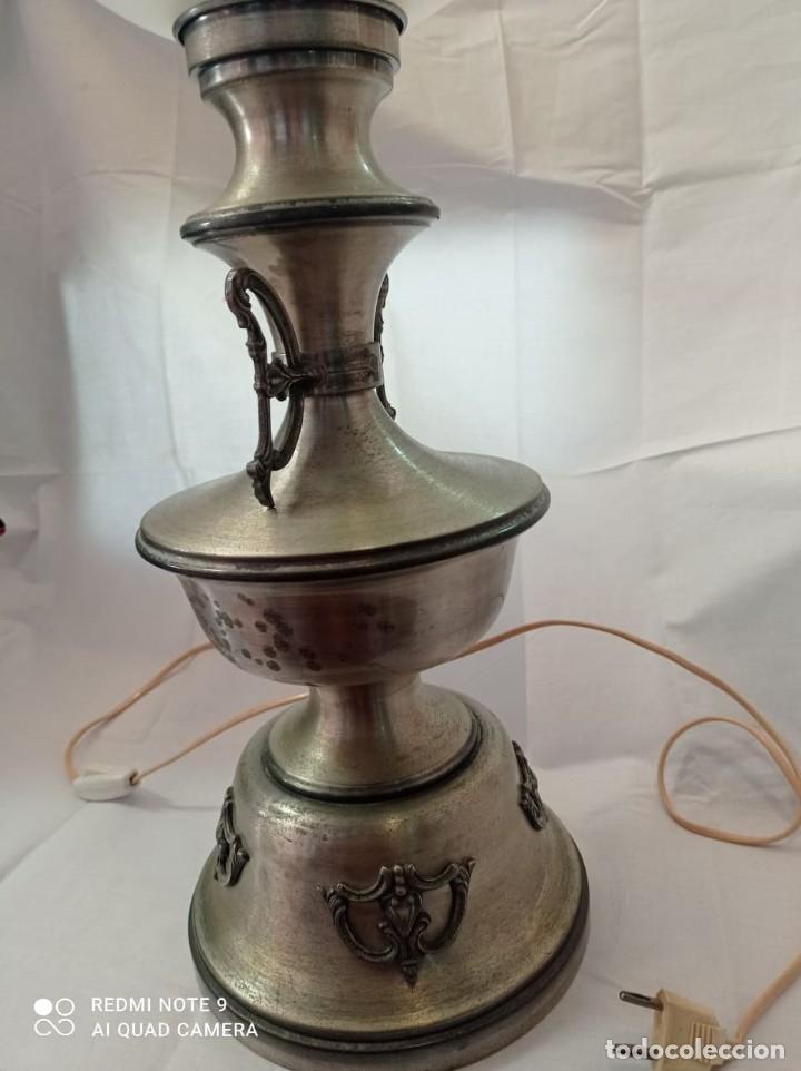 Vintage: LAMPARA SOBREMESA LATON PLATEADO QUINQUE - Foto 5 - 220526520