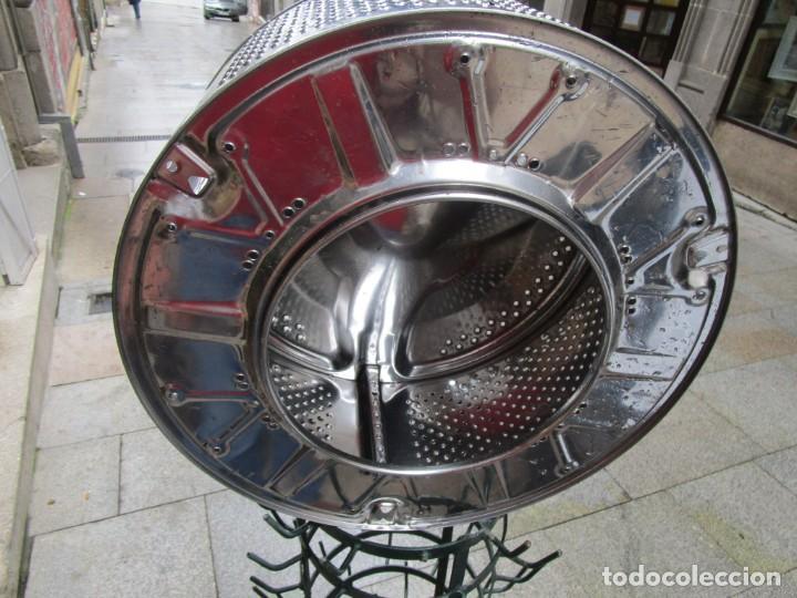 Vintage: IMPECABLE TAMBOR TAMBOR DE LAVADORA - ACERO INOX - PARA LAMPARA - BELLO EFECTO DE LUZ + INFO - Foto 3 - 221414677