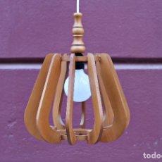 Vintage: LAMPARA DE MADERA VINTAGE AÑOS 60. Lote 221649693