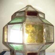 Vintage: APLIQUE LAMPARA EMPLOMADA CRISTALES BLANCO VERDE AMARILLO ROJO . 27 CM. Lote 221653060