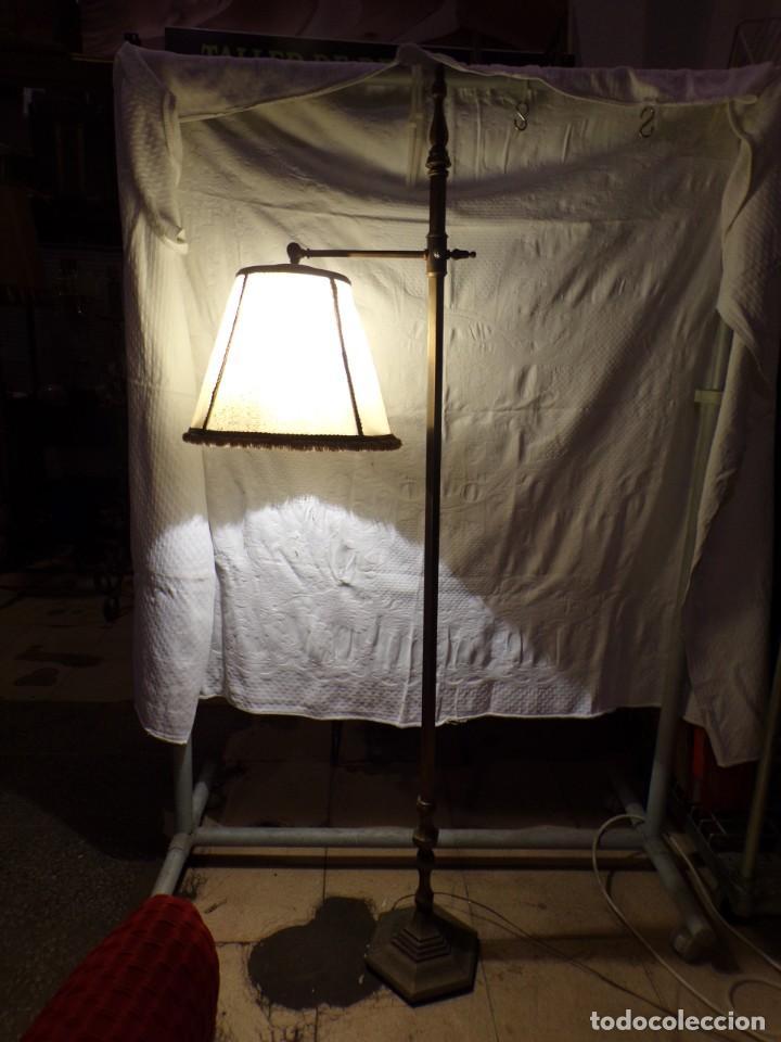 LAMPARA DE BRONCE DE PIE VINTAGE REGULABLE EN ALTURA FUNCIONANDO (Vintage - Lámparas, Apliques, Candelabros y Faroles)