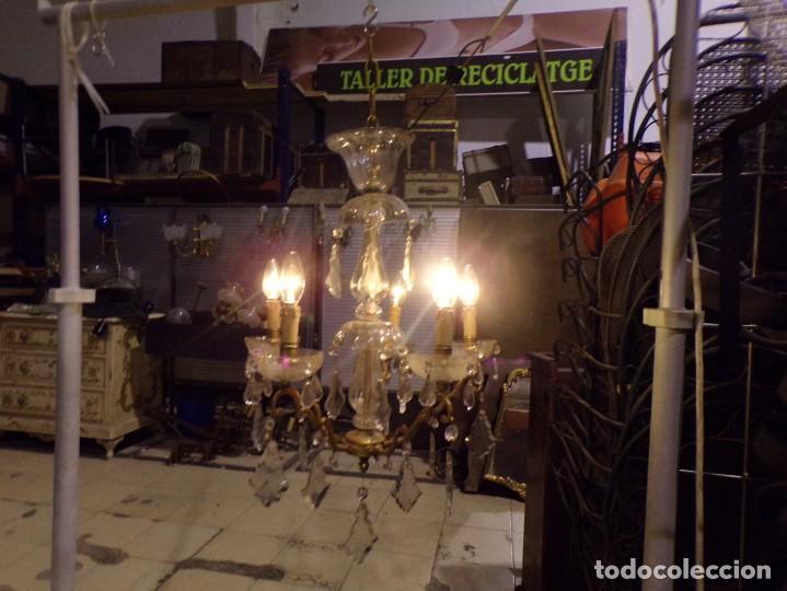 PRECIOSA LAMPARA PALACIEGA FUNCIONANDO EN MUY BUEN ESTADO BRONCE CRISTAL LAGRIMAS 5 LUCES (Vintage - Lámparas, Apliques, Candelabros y Faroles)