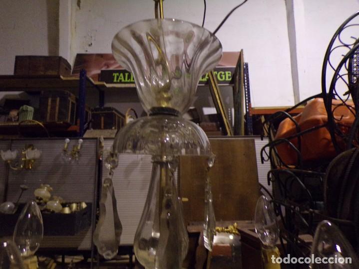 Vintage: preciosa lampara palaciega funcionando en muy buen estado bronce cristal lagrimas 5 luces - Foto 11 - 221894831