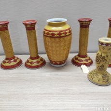 Vintage: LOTE 5 CANDELABROS Y 1 JARRÓN DE CERÁMICA SIN USO PROCEDENTE DE STOCK DE TIENDA. Lote 221900761