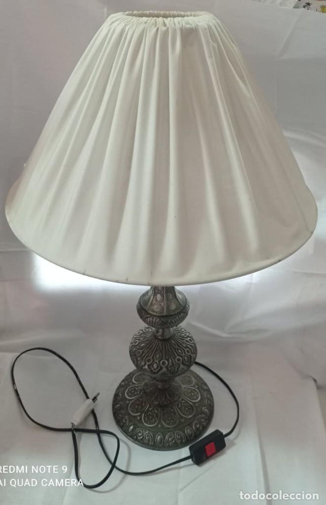 LAMPARA SOBREMESA DE CALAMINA + PANTALLA (Vintage - Lámparas, Apliques, Candelabros y Faroles)