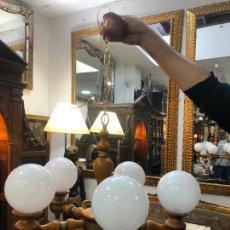 Vintage: LAMPARA DE MADERA RUSTICA CON TULIPAS DE OPALINA Y MEDIDA 75X55 CM. Lote 222582988