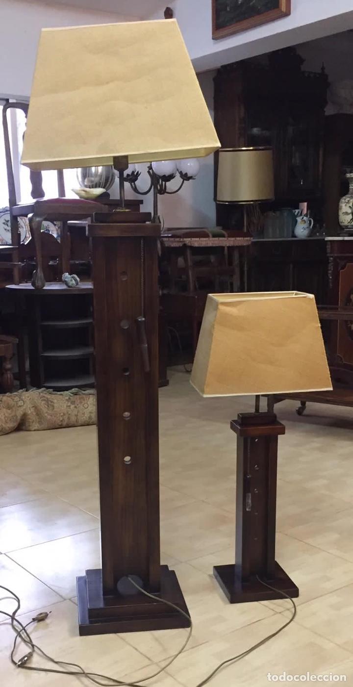 LÁMPARAS MADERA REGULABLES VINTAGE (Vintage - Lámparas, Apliques, Candelabros y Faroles)
