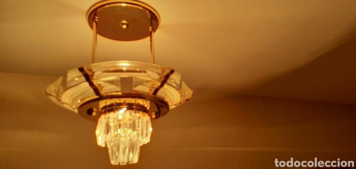 LAMPARA DE TECHO EN METACRILATO Y CRISTAL (Vintage - Lámparas, Apliques, Candelabros y Faroles)