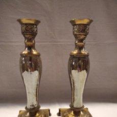 Vintage: 2 CANDELABROS LATON Y CRISTAL CRAQUELADO. Lote 226339105