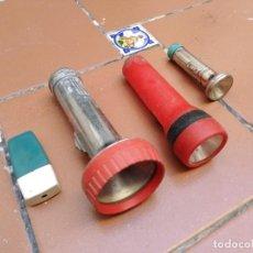 Vintage: LOTE 4 LINTERNAS ANTIGUAS - 2 SIN MARCA UNA WONDER TYPE MILOR - UNA TUDOR - RESTAURAR - DESPIECE. Lote 231357675