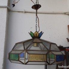 Vintage: LAMPARA DE ARABE CRISTALES DE COLORES. Lote 234838690