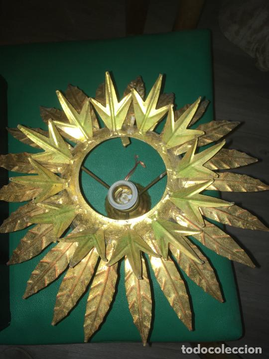 Vintage: lampara aplique de techo girasol sol , dorado. mide 35 x 22 cms. - Foto 2 - 235261445