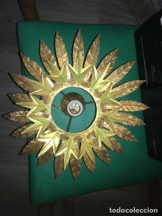 Vintage: lampara aplique de techo girasol sol , dorado. mide 35 x 22 cms. - Foto 4 - 235261445