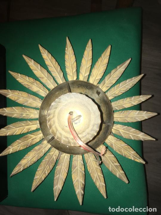Vintage: lampara aplique de techo girasol sol , dorado. mide 35 x 22 cms. - Foto 5 - 235261445