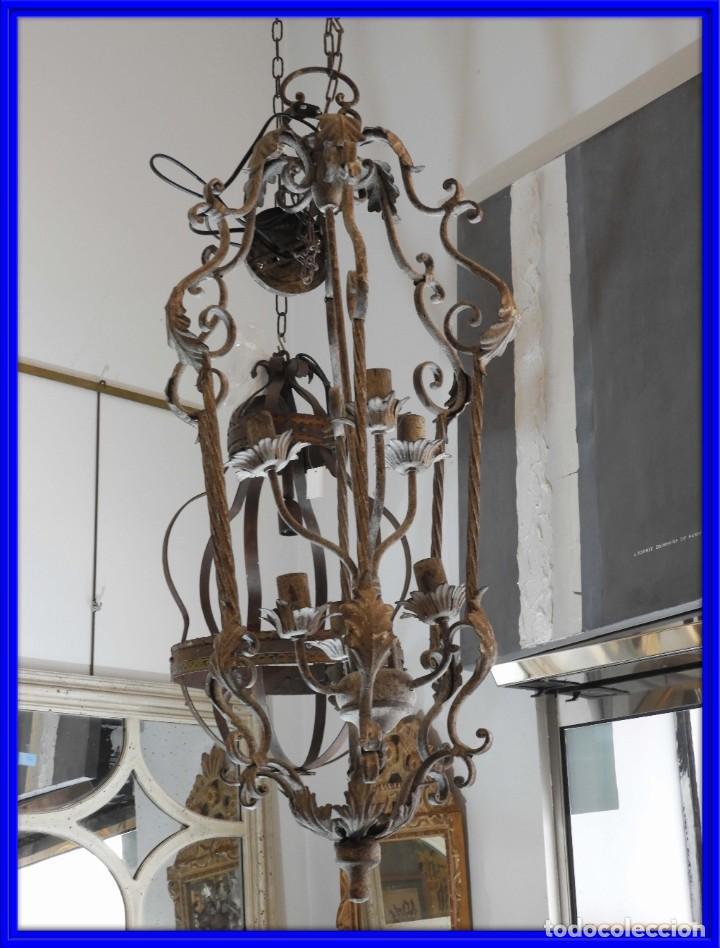 DECORATIVA LAMPARA DE HIERRO CON 6 LUCES 90 CM MAS CADENA (Vintage - Lámparas, Apliques, Candelabros y Faroles)