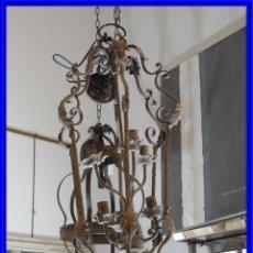 Vintage: DECORATIVA LAMPARA DE HIERRO CON 6 LUCES 90 CM MAS CADENA. Lote 264748139