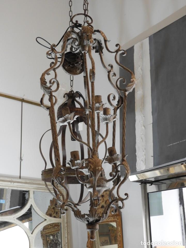 Vintage: DECORATIVA LAMPARA DE HIERRO CON 6 LUCES 90 CM MAS CADENA - Foto 2 - 236861810