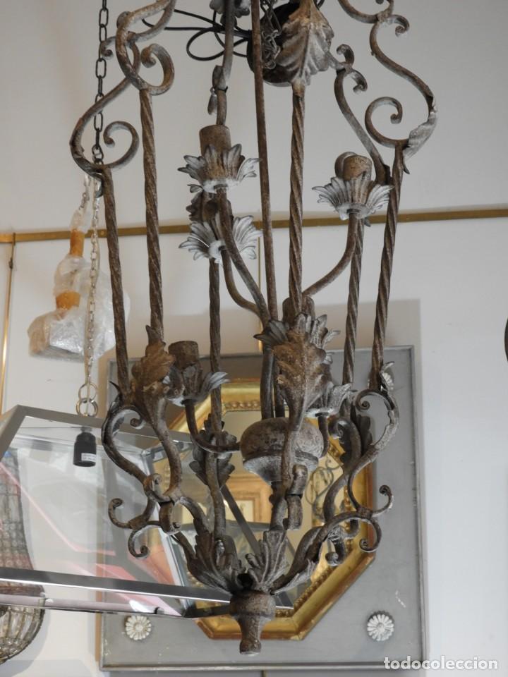 Vintage: DECORATIVA LAMPARA DE HIERRO CON 6 LUCES 90 CM MAS CADENA - Foto 4 - 236861810