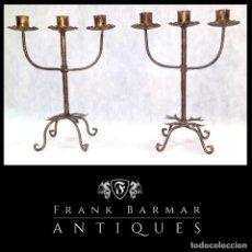 Vintage: PAREJA DE GRANDES CANDELABROS ARTESANALES VINTAGE METÁLICOS - ENVÍO GRATIS PENÍNSULA.. Lote 238496425