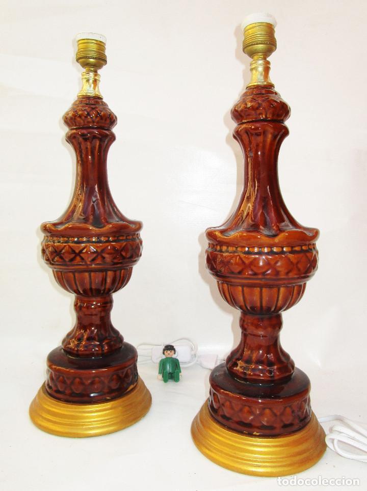 Vintage: PAREJA LAMPARAS MANISES VINTAGE CABLEADAS NUEVAS - Foto 2 - 242916740